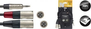 Picture of Cable Audio 1plug ml 3.5 ST / 2xlr ml 03m