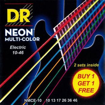 Picture of JEU cordes electriques DR NEON Multicolor  pack de 2jeux 10-46