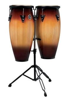 "Picture of Congas SET 11"" & 12"" Latin Percussion ASPIRE LPA647-VSB Vintage Sunburst avec support"